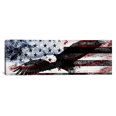 iCanvas Bald American Eagle, U.S. Flag Graphic Art on Wrapped Canvas; 16'' H x 48'' W x 0.75'' D