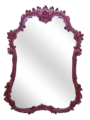 Hickory Manor House French Mirror; Antique Chinese Red