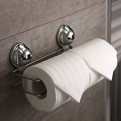 FECA Wall Mounted Double Roll Stainless Steel Toilet Paper Holder w/ No Drill Powerful Suction Cup WYF078279217676