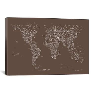 iCanvas Font World Map by Michael Tompsett Graphic Art on Wrapped Canvas; 26'' H x 40'' W x 0.75'' D