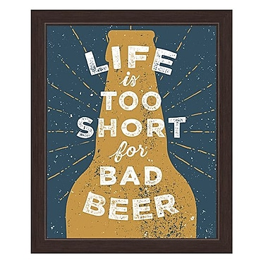 Click Wall Art Life is Too Short For Bad Beer Framed Textual Art in Yellow; 27'' H x 23'' W