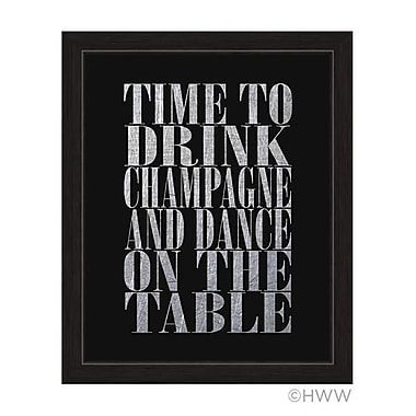 Click Wall Art Time to Drink Champagne Framed Textual Art in Silver; 13'' H x 11'' W x 1'' D