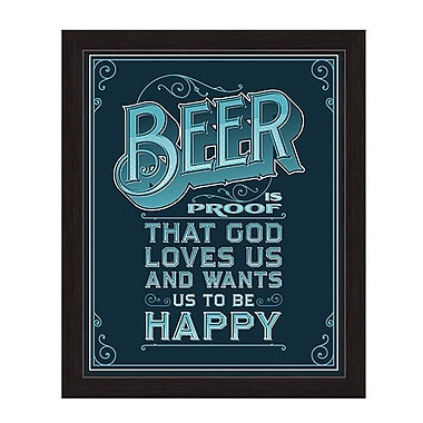 Click Wall Art Beer Is Proof That God Loves Us Framed Textual Art in Blue; 32.5'' H x 22.5'' W