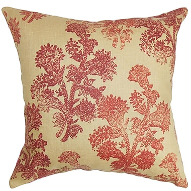 The Pillow Collection Efterpi Floral Linen Throw Pillow Cover; 18'' x 18''