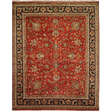 Wildon Home Hand-Knotted Red/Brown Area Rug; 6' x 9'