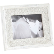 Saro Bejeweled Seed Bead Design Picture Frame; Vanilla