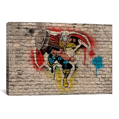 iCanvas Marvel Comic Book: Thor Graffiti Graphic Art on Canvas; 12'' H x 18'' W x 0.75'' D