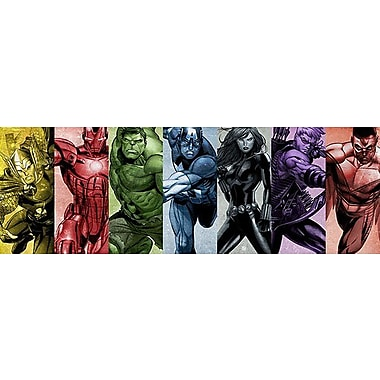 iCanvas Marvel Comics - Rainbow Avengers Panoramic Graphic Art on Canvas; 12'' H x 36'' W x 0.75'' D