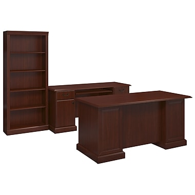 kathy ireland® Office by Bush Business Furniture Bennington Manager's Desk, Credenza and Bookcase,HarvestCherry (BNT005CS)