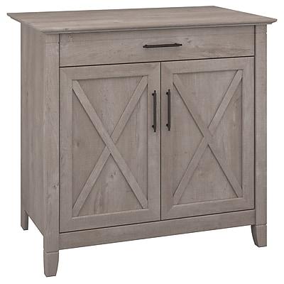Bush Furniture Key West Laptop Storage Desk Credenza, Washed Gray (KWS132WG-03)