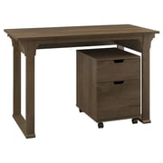 "Bush Furniture Mission Creek 48""W Writing Desk with 2 Drawer Mobile Pedestal, Rustic Brown (MCR001RB)"