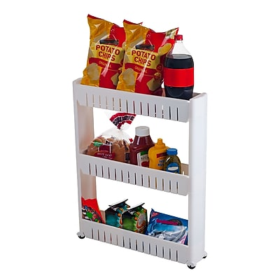 5 Wide Three Tier Slim Slide Out Pantry On Rollers Cart White
