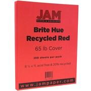 JAM PaperMD – Papier couverture cartonné recyclé Brite Hue lisse, 8 1/2 x 11 po, rouge, 250 feuilles/rame