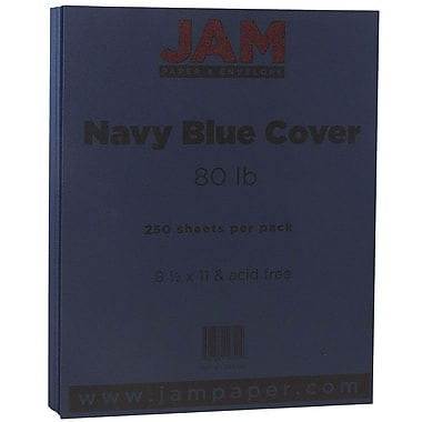 JAM Paper® Matte Cardstock, 8.5 x 11, 80lb Navy Blue, 250/ream (LEBA242B)