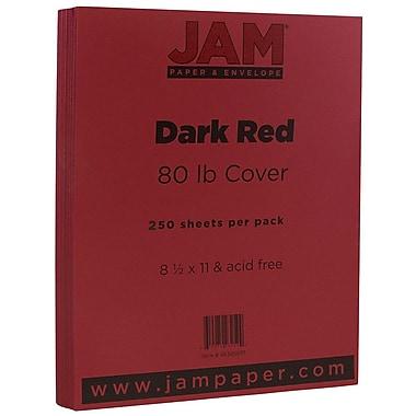 JAM PaperMD – Papier couverture cartonné au fini texturé, 8 1/2 x 11 po, rouge foncé, 250 feuilles/rame