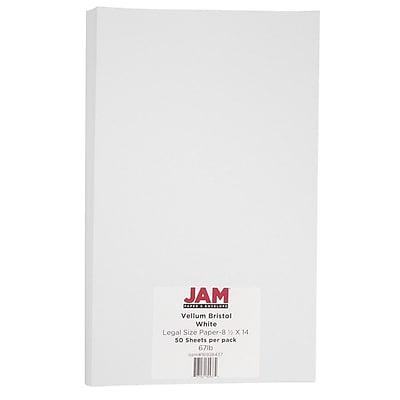 JAM Paper® Vellum Bristol Legal Cardstock, 8.5 x 14, 67lb White, 50/pack (16928437)