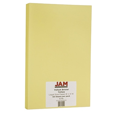 JAM Paper® Vellum Bristol Legal Cardstock, 8.5 x 14, 67lb Yellow, 50/Pack (16928440)