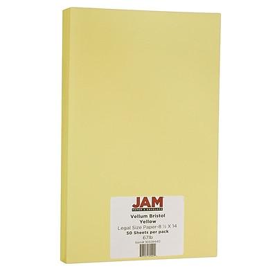 JAM Paper® Vellum Bristol Legal Cardstock, 8.5 x 14, 67lb Yellow, 50/pack (16928440)