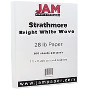 JAM Paper® Strathmore 28lb Paper, 8.5 x 11, Bright White Wove, 100 Sheets/Pack (300230)