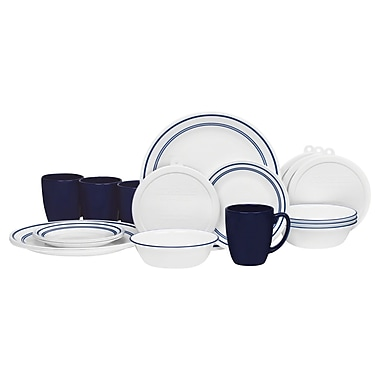 Corelle Livingware Classic Cafe 20 Piece Dinnerware Set, Service for 4; Blue