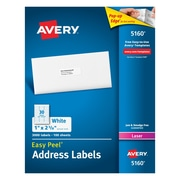 Avery 1 inch x 2 5/8 inch 5160 Laser Address Labels with Easy Peel, White, 3,000/Box by