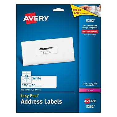 Avery® 5262 White Laser Address Labels, 1-1/3