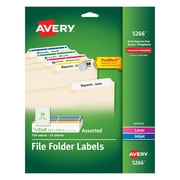 "Avery Laser/Inkjet Permanent File Folder Labels with TrueBlock, 2/3"" x 3-7/16"", Assorted Colors, 750/Pack (05266)"