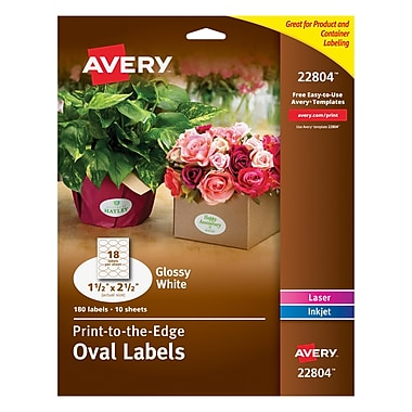 Avery Easy Peel Print-to-the-Edge Glossy Oval Labels, True Print, 1-1/2