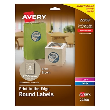 Avery Print-to-the-Edge Kraft Brown Round Labels, 2-1/2