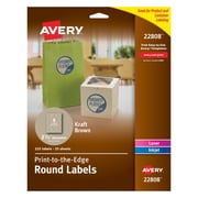 "Avery Print-to-the-Edge Kraft Brown Round Labels, 2-1/2"" Diameter, Pack of 225 (22808)"