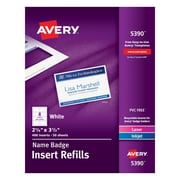 """Avery® Name Tag Insert Sheets, 2 1/4"""" x 3 1/2"""""""