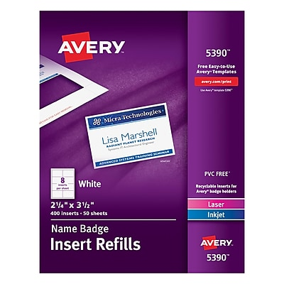 Avery 05390/CC-12P Name Tag Insert Sheets, 2.25
