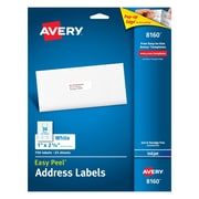 Avery 1 inch x 2 5/8 inch Inkjet Address Labels with Easy Peel, White, 750/Box (8160) by