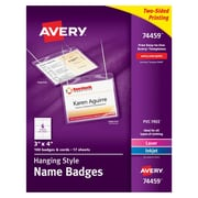 "Avery Hanging Name Tags, 3"" x 4"", White, 100/Box (74459)"