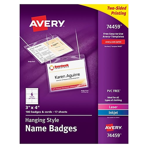 avery 74459 hanging name tags 3 x 4 white staples