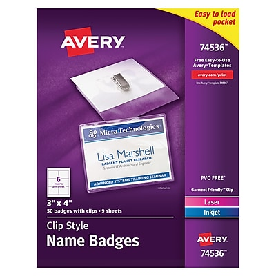 Avery 74536 Garment-Friendly Clip-Style Name Badges, White, 50/Box