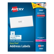 "Avery Laser Address Labels with Easy Peel, 1"" x 2-5/8"", White, 7500/Box (05960)"