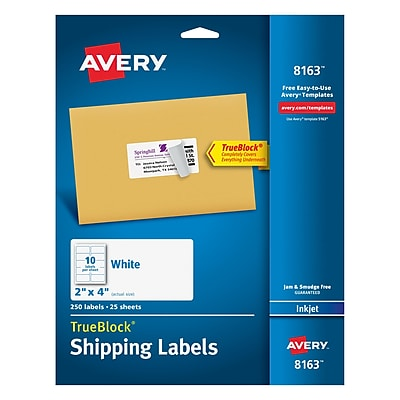 """Avery Inkjet Shipping Labels with TrueBlock, 2"""" x 4"""", White, 250/Pack (08163)"""