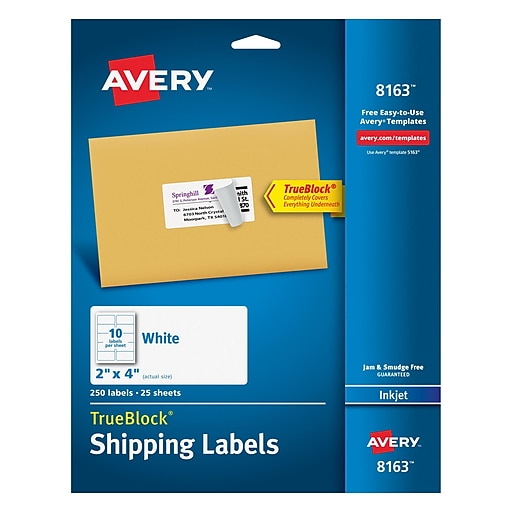 avery 2 x 4 inkjet shipping labels with trueblock white 250 box