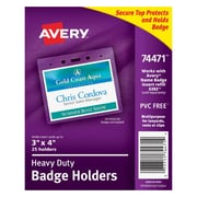 "Avery® 74471 Vinyl Badge Holder, Horizontal, 3"" x 4"", 25/Pack"