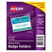 "Avery 74471 Vinyl Horizontal Badge Holder,  3"" x 4"", Clear, 25/Pack"