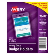"""Avery® Vinyl Badge Holder, Vertical, 4"""" x 3"""""""