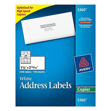 Avery® White Copier Address Labels, 1-1/2