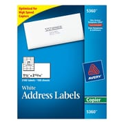 Avery® Copier Address Labels, White, 2100/Box (5360)