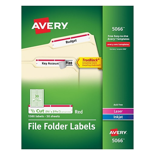 Avery 5066 Red Permanent File Folder Labels With Trueblock 1500