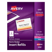 """Avery 5392 Name Tag Insert Sheets, 300 Inserts/50 Sheets, 3"""" x 4"""", White, 300/Box"""