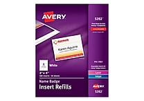 Avery® Name Tag Insert Sheets, 3' x 4'