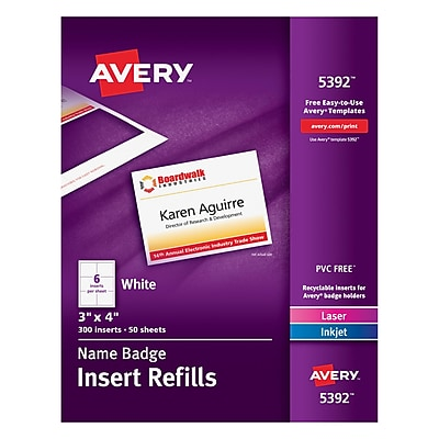 Avery 5392 Name Tag Insert Sheets, 300 Inserts/50 Sheets, 3