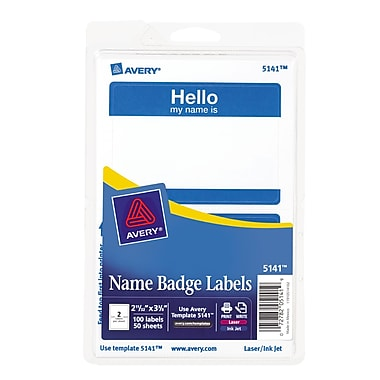 Avery 5141 Name Tag Labels, Blue, 100/Pack