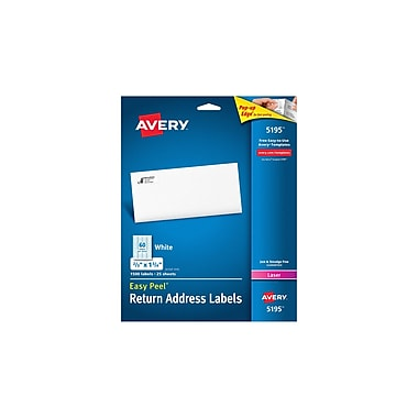 avery 5195 white laser return address labels with easy peel 2 3